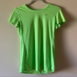 Nike Dry Fit Wicking Neon Green Fitted Tee
